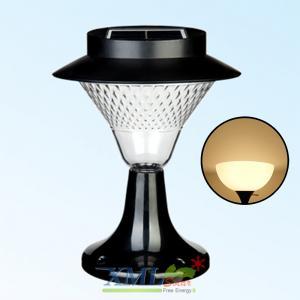 โคมไฟหัวเสาโซล่าเซลล์ ทรงกรวย ฐานดำ 32 LED (เเสง : เหลืองวอมไวท์)