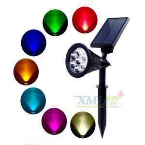สปอร์ตไลท์ปักสนามโซล่าเซลล์ 7 LED(super bright) (เเสง : หลากสี)