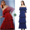 Pleated full dress with off shoulder