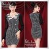 Black&White vertical stripes long-sleeved dress เดรสลุคเรียบหรู โทนสีขาว-ดำ คลาสสิค กระดุมสีทองเพิ่มความหรู