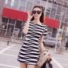 "Black& whit stripes mixed color Dress style korea"" เดรสเกาหลี แต่งลายผ้าสลับขาวดำ แ"
