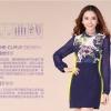 Brand fashional Detail : เดรสทรงตรง เข้ารูปช่วงเอว ตัวเสื้อผ้าถักสีน้ำเงินลายดอกไม้