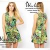 มินิเดรสไฮแบรนด์ลุคสาว chic girl เนื้อผ้า polyester+spandex พิมพ์ลายสีสันสดใสลาย