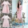 Feather Embellished Pink Velvet Dress