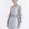 Dress คอวีผ้าพื้นแต่งแขนซีทรูด้วยลูกไม้ทอลาย 3