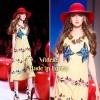 KS Dress:: เดรสคอวีตัวเก๋ เลือกใช้ผ้าเรียบพื้นปักดอกไม้ช่วงอก