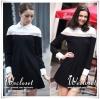 มินิเดรสสีดำ ดีเทลช่วงอกสีขาว ลุคชิคๆ smart&casual ด้วยทรงปกเชิ้ต