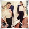 Jumpsuit Long Classy Diamond Floral Style Korea ชุดกางเกง Jumpsuit ตัวเสื้อสีขาวตัดกางเกงสีดำ