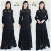 Cotton Lace Long Sleeve With Collar Maxi Dress