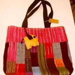 กระเป๋าผ้าฝ้าย กระเป๋าถือ (แบบอัดผ้ากาวแข็ง) สีชมพู