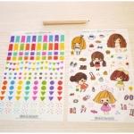 (6 แผ่น/ชุด) สติ๊กเกอร์ Girls Sticker Set