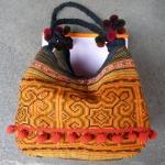กระเป๋าผ้าฝ้าย กระเป๋าถือ ใบใหญ่ สีส้ม