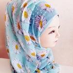 ผ้าฮิญาบ ผ้าคลุม อิสลาม ดอก เดซี่ HJ1171