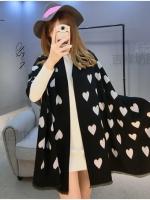 ผ้าพันคอ แคชเมียร์ Cashmere ลาย หัวใจ ขาวดำ CM02001-1