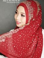 ผ้า ฮิญาบ ผ้าคลุม อิสลาม แต่งกากเพชร HI05001