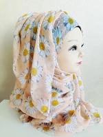 ผ้าฮิญาบ ผ้าคลุม อิสลาม ดอก เดซี่ HJ1172