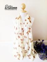 ผ้าพันคอ ชีฟอง Chiffon ผืนใหญ่ ลายโบว์ CF01001-2