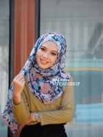 ผ้าคลุม อิสลาม วิสคอส viscose พิมพ์ลาย ดอกไม้ โทน น้ำเงิน HJ07009