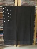 ผ้าคลุม ชีฟอง CHIFFON สีดำ แต่งดอกไม้