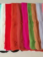 ผ้าคลุม ชีฟอง CHIFFON สีพื้น ฉลุลาย