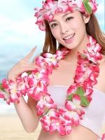 ชุดพวงมาลัยฮาวาย พวงมาลัยดอกไม้แฟนซี ชมพูขาว