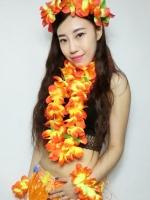 ชุดพวงมาลัยฮาวาย พวงมาลัยดอกไม้แฟนซี ส้มเหลือง