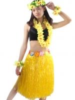 ชุดพวงมาลัยฮาวายพร้อมกระโปรงฟางเหลือง รุ่นหนาพิเศษ ยาว 60 cm