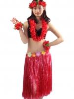 ชุดพวงมาลัยฮาวายพร้อมกระโปรงฟางแดง รุ่นหนาพิเศษ ยาว 60 cm