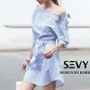 ชุดเดรสเกาหลีพร้อมส่ง Mini dress รายริ้วฟ้าสลับขาว ทรงเก๋