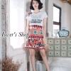 เสื้อผ้าแฟชั่นเกาหลีพร้อมส่ง ชุดเซ็ทเสื้อยืดสีขาวพื้นพิมพ์ลายD&G