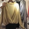 บอดี้สูทผ้าร่องเหลือบmetallic สีเงิน ทอง