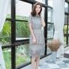 ชุดเดรสเกาหลีพร้อมส่ง เดรสงานสวยหรู แต่งคอปกอกระบายเล็ก ใช้ผ้าลูกไม้ลายทั้งตัว