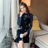 ชุดเดรสเกาหลีพร้อมส่ง เดรสสไตล์เกาหลี ตัวเสื้อผ้าซีทรูอัดลายในตัวโทนสีน้ำเงินเข้ม