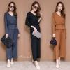 เสื้อผ้าเกาหลีพร้อมส่ง เซ็ทเสื้อ+กางเกง ตัวเสื้อคอวีทรงป้ายทับกัน มีสายผูกเอว