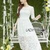 ชุดเดรสเกาหลีพร้อมส่ง เดรสผ้าลูกไม้สีขาวสไตล์เจ้าหญิงสุดหวาน