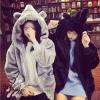 เสื้อผ้าเกาหลีพร้อมส่ง เสื้อกันหนาวหนานุ่มตัวกว้าง มีฮู้ดหูหมีน่ารักจริงจัง