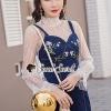 เสื้อผ้าเกาหลีพร้อมส่ง Pinky Flora Stick Cami Denim Dress Set