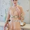 เสื้อผ้าเกาหลีพร้อมส่ง Girly Wheat Cream Netty Blossom Waisty Dress