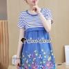 ชุดเดรสเกาหลีพร้อมส่ง Gene Streak Lace Colorful Dress