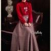 เสื้อผ้าเกาหลีพร้อมส่ง Set เสื้อ+กระโปรง เสื้อทรงสวยคอจีบมีโบตรงคอน่ารัก