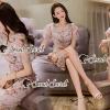ชุดเดรสเกาหลีพร้อมส่ง Princess Lace Vee Flora Print Dress