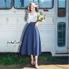 Dress ยาว แขนยาว คอปก ท่อนบนพื้นขาว