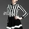 เสื้อผ้าเกาหลีพร้อมส่ง Hairy Stripe Knit Skirt Set