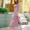 ชุดเดรสเกาหลีพร้อมส่ง Maxi dress งานไขว้ด้านหน้าใส่ปรับระดับ