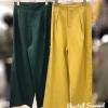 เสื้อผ้าเกาหลีพร้อมส่งกางเกงลินินรุ่นใหม่ แต่งกระดุมด้านข้างทูโทน