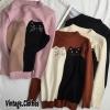 เสื้อผ้าแฟชั่นเกาหลีพร้อมส่ง เสื้อแขนยาวผ้าไหมพรมทอลายแมวเหมียวน่ารัก