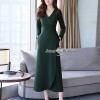 ชุดเดรสเกาหลีพร้อมส่ง V Long Wrap Dress