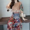 เสื้อผ้าแฟชั่นเกาหลีพร้อม่ส่ง Fashionally Denim-Chiffon Printed Skirt Set