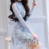 ชุดเดรสเกาหลีพร้อมส่งBlue Premium Korea Eelgant Lace
