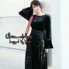 ชุดเดรสเกาหลีพร้อมส่ง Dress ผ้ากำมะหยี่ลายน้ำ